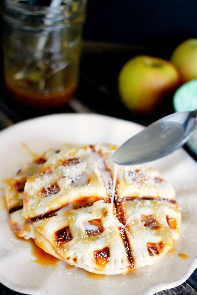 Waffle Iron Caramel Apple Pies only take 10 minutes from start to finish, and they are seriously delicious!