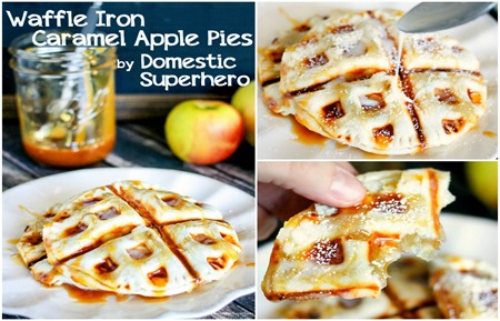 Waffle Iron Caramel Apple Pies horiz