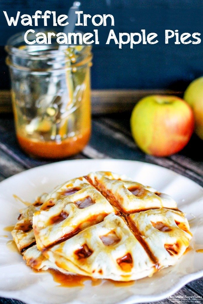 Waffle Iron Caramel Apple Pies - only 10 minutes start to finish for these amazing hand pies!