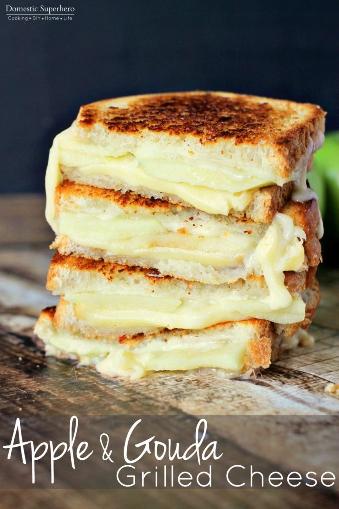 Apple Gouda Grilled Cheese is perfect for fall! Smokey gouda cheese melted between tart granny smith apples is savory and delicious!
