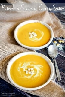 Pumpkin Coconut Curry Soup is the perfect fall comfort food. Subtle Thai flavors in the most delicious pumpkin soup.