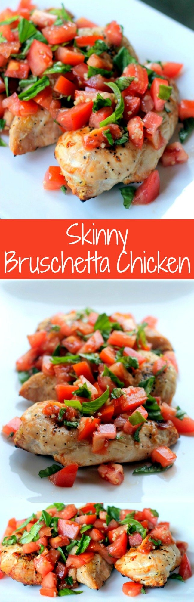 Skinny Bruschetta Chicken has delicious juicy grilled chicken topped with a fresh tomato bruschetta! With only 176 calories per servings, it's the perfect healthy dinner!