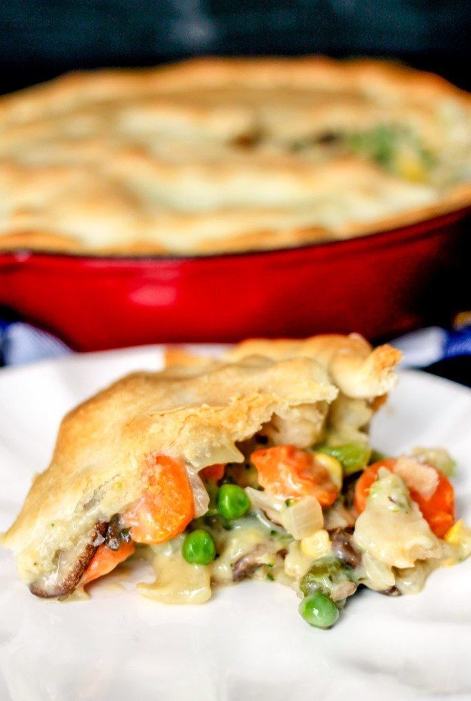 30 Minute Loaded Vegetable Pot Pie is packed full of veggies and is sure to comfort you this winter! So delicious and quick to make!