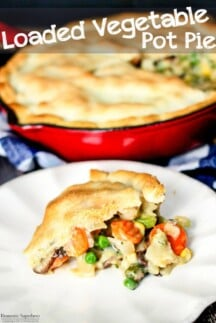 30 Minute Loaded Vegetable Pot Pie comes together super quickly and is majorly delicious! Packed full of healthy veggies, it's sure to comfort you this winter!