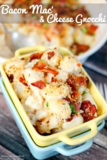 Bacon 'Mac' & Cheese Gnocchi is the perfect delicious dinner! You will love the gooey cheese, crispy bacon, and crunchy bread crumb topping!