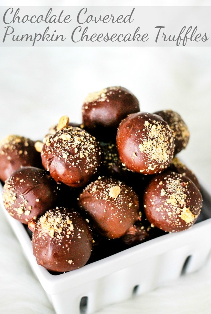 Chocolate Covered Pumpkin Cheesecake Truffles are a super delicious dessert that are perfect for fall and the holidays!