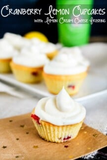 Cranberry Lemon Cupcakes with Lemon Cream Cheese Frosting are the perfect anytime treat, but they are especially tasty around the holidays!
