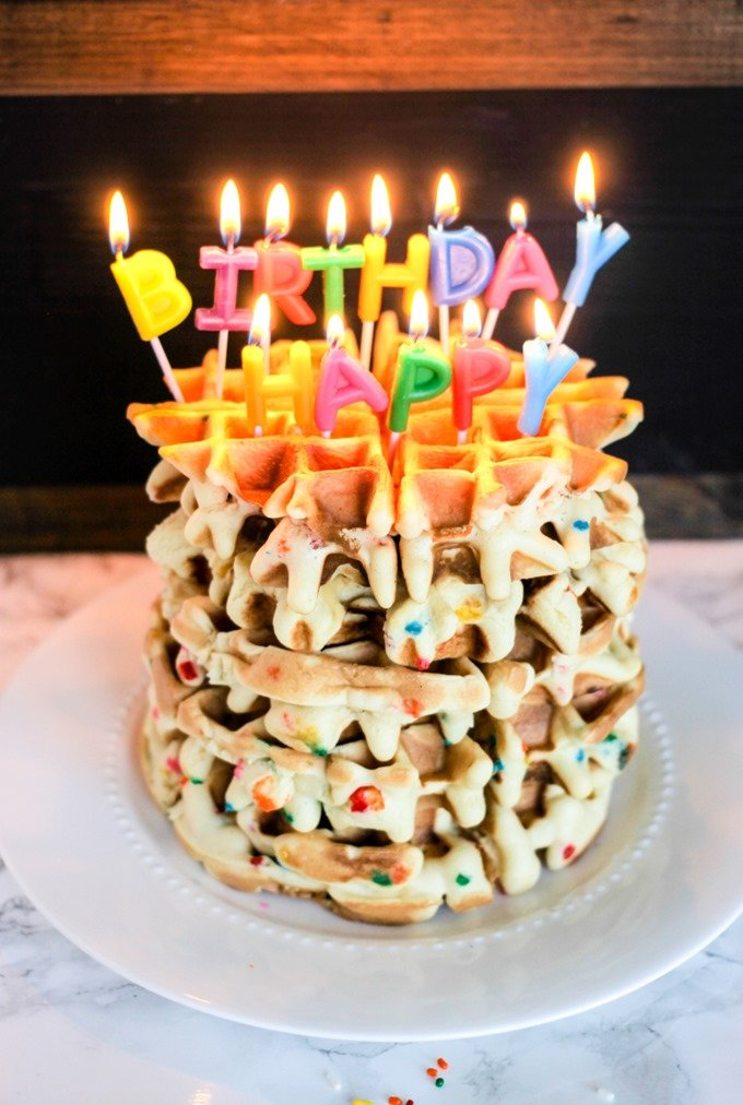 Funfetti Birthday Waffles are the best birthday breakfast a kid could imagine!