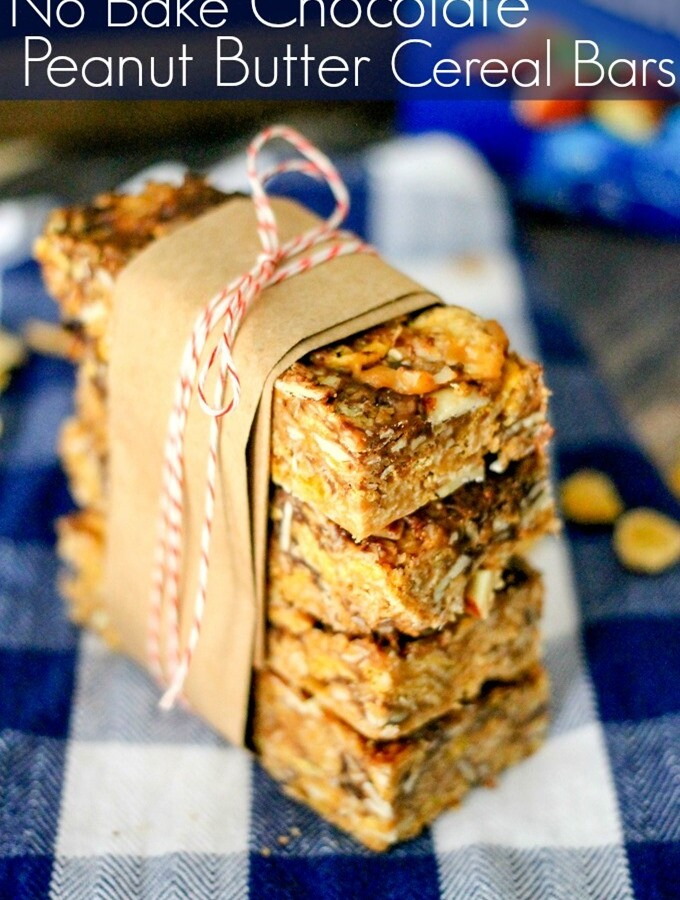 No Bake Chocolate Peanut Butter Cereal Bars