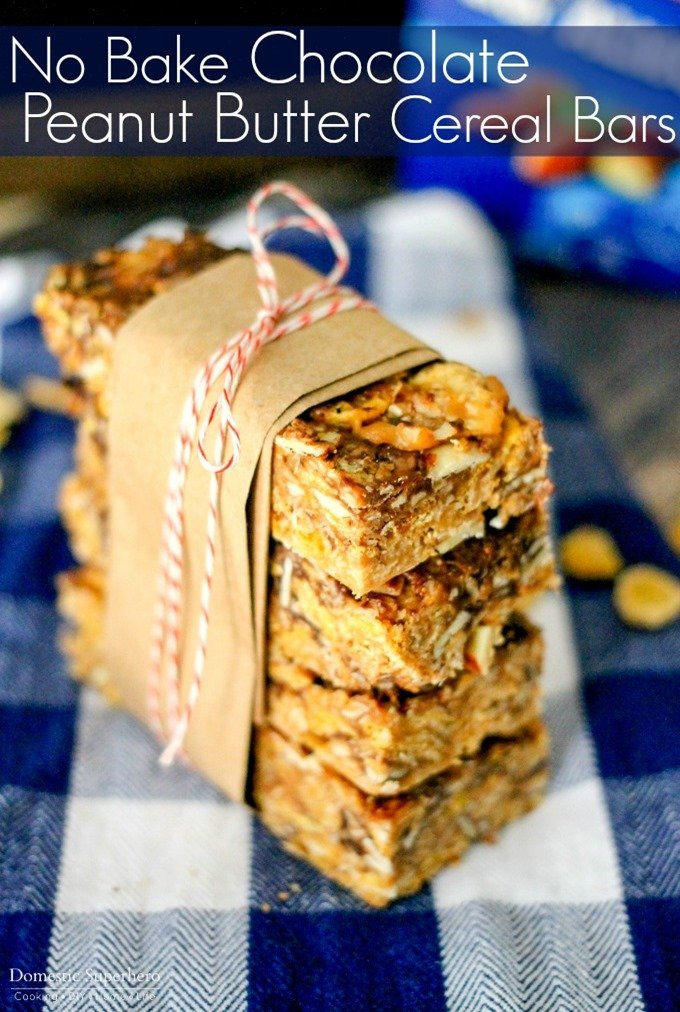 These simple no bake Chocolate Peanut Butter Cereal Bars have only a ...
