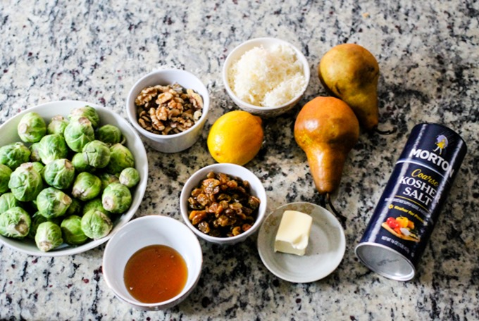 Sauteed Brussels Sprouts with Pears, Golden Raisins & a Sweet Glaze are the perfect anytime side dish that everyone will love!