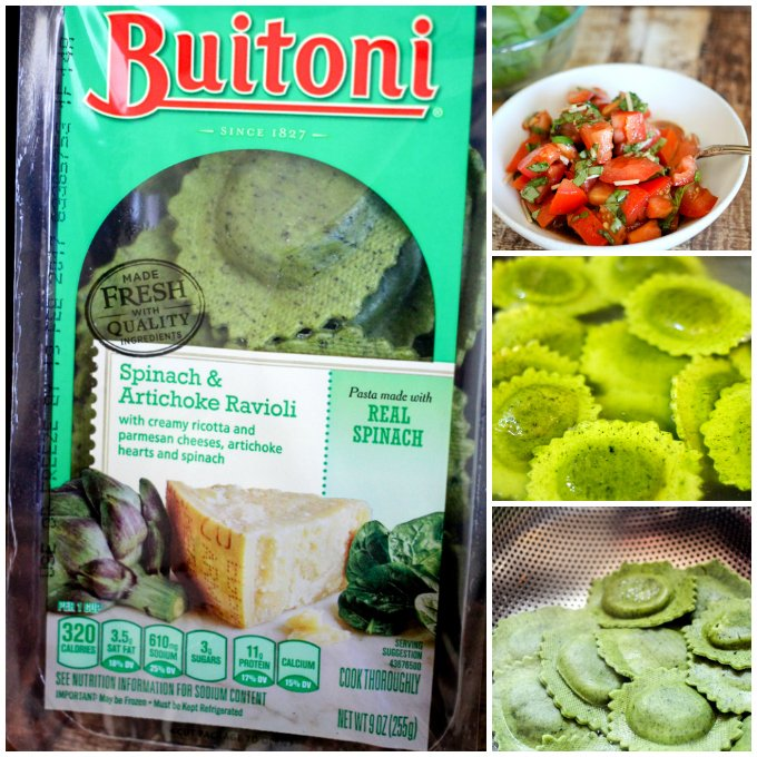 This Fresh Bruschetta Ravioli is a super easy dinner idea - it takes less than 15 minutes to whip up, tastes amazing, and you can feel good about feeding it to your family!