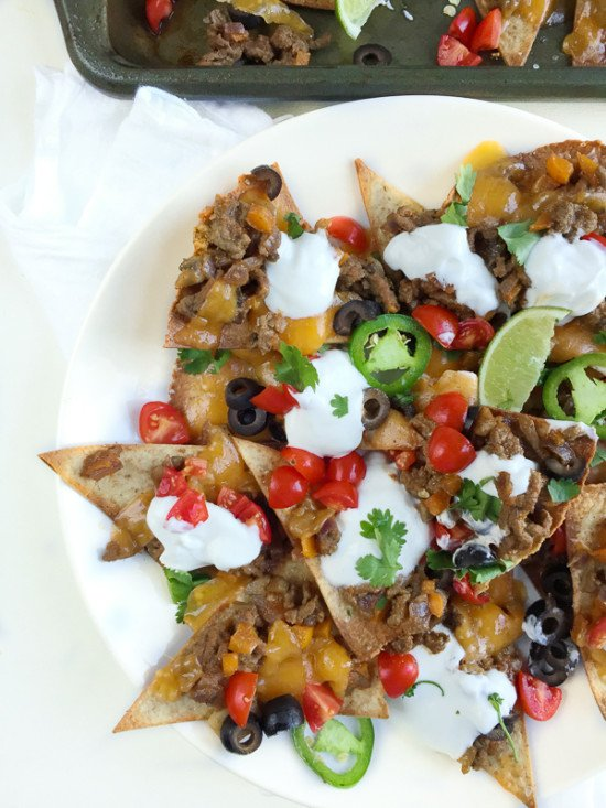 Loaded Healthy Nachos with Beef and Homemade Tortilla Chips