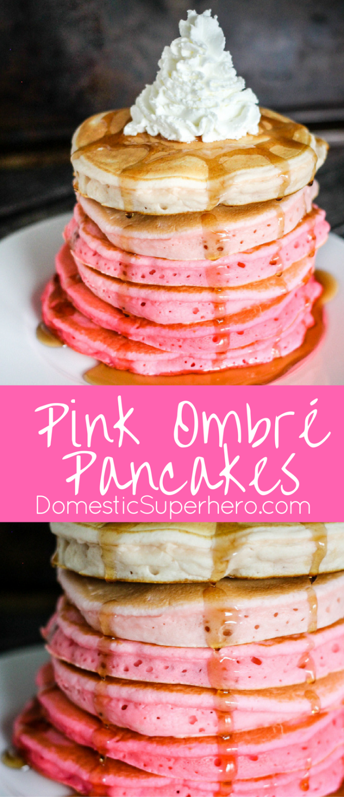 Pink Ombre Pancakes are simple to make and such a pretty breakfast! Serve them to your sweetheart for Valentine's Day or any occasion!