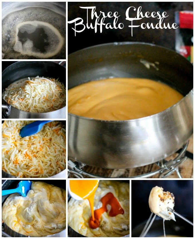 Three Cheese Buffalo Fondue is full of three cheeses and buffalo sauce! It's going to take your appetizer game from good to great!