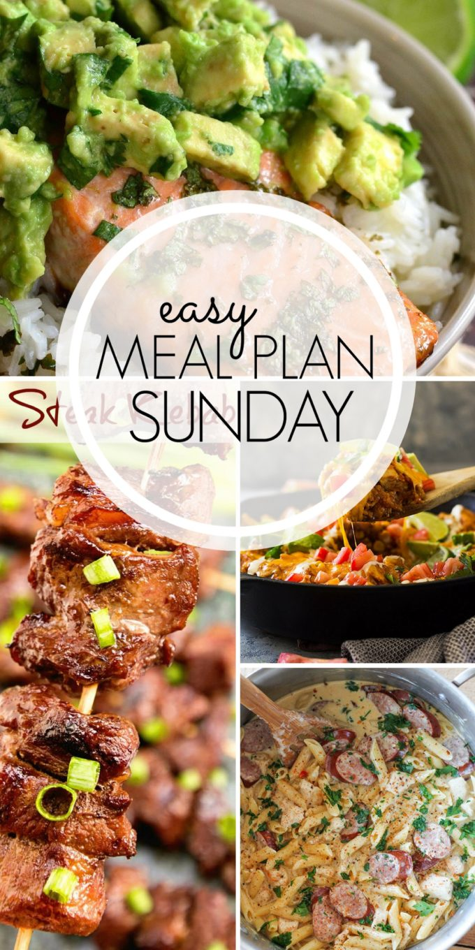 Take your meal planning game to the next level by using these amazing recipes! With 6 dinner ideas and 2 desserts, this Easy Meal Plan has it all!