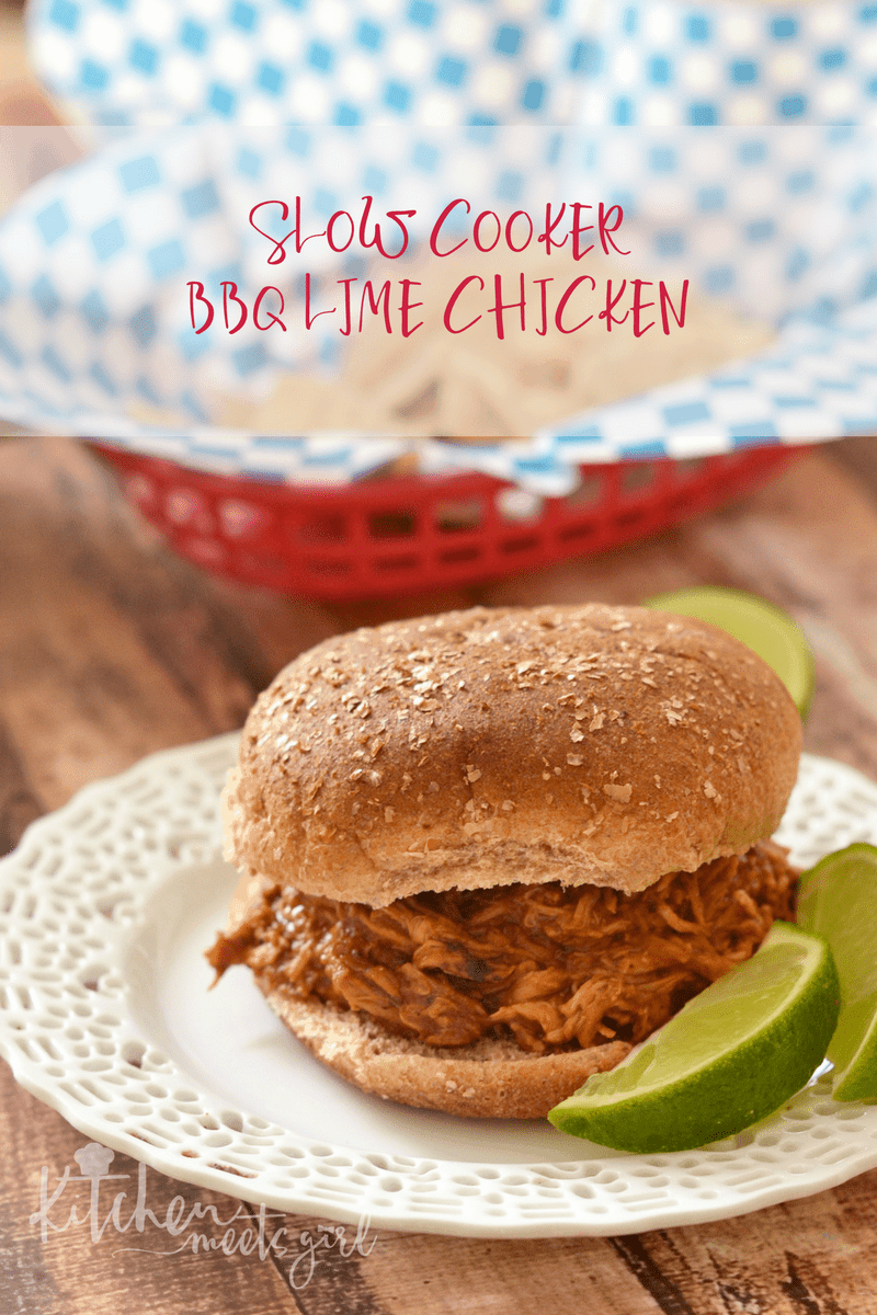 Slow Cooker BBQ Lime Chicken on a plate with limes.
