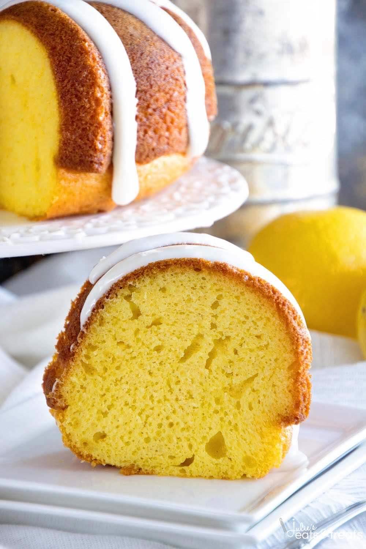 Lemon Bundt Cake on a white plate.