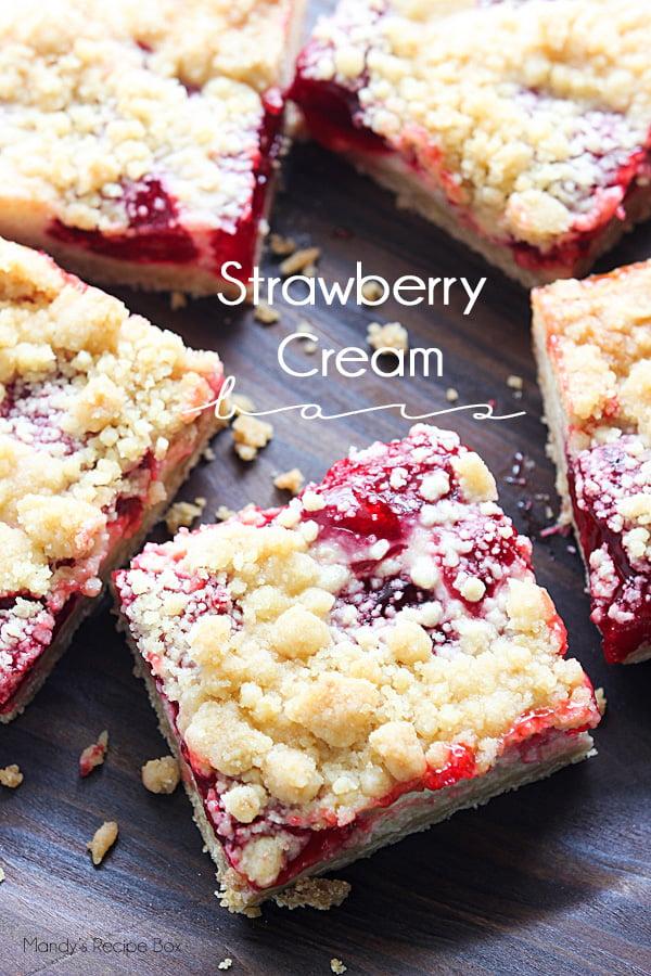 Strawberry Cream Bars on a cutting board.