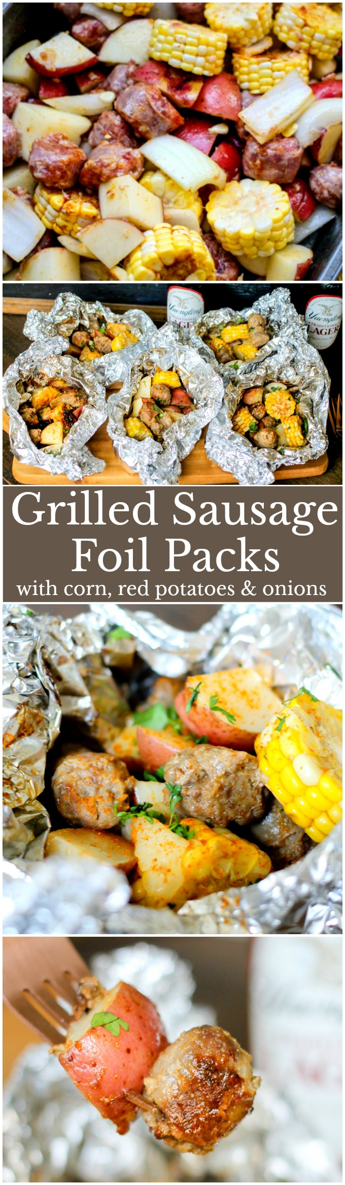 Grilled Sausage Foil Packs are loaded with delicious Yuengling infused sausage, red potatoes, mini corn cobs, and onions! Perfect for a quick easy dinner!
