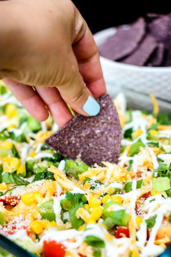 This Million Layer Dip is filled with tons of fresh vegetables and Mexican inspired flavors. Everyone will go crazy for it at your next fiesta!