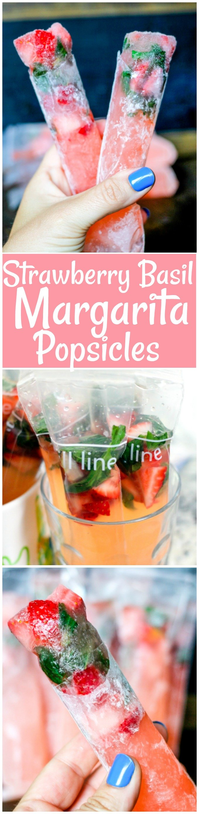 Strawberry Basil Margarita Popsicles are not only boozy and delicious, but they are simple to make! Everyone is going to be begging for them this summer!