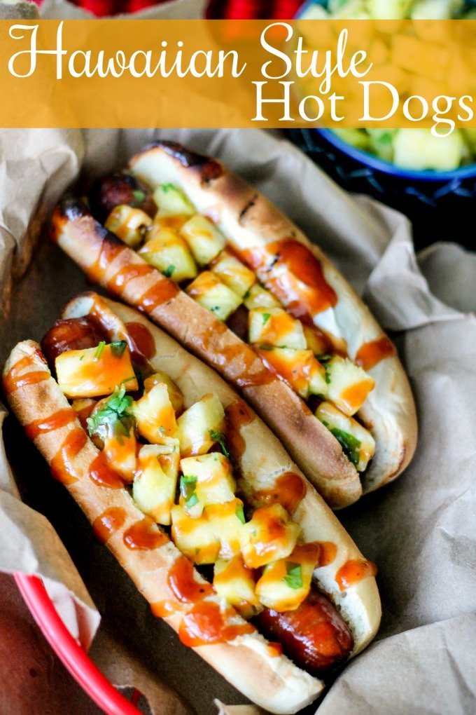 Hawaiian Style Hot Dogs are covered with fresh pineapple and cilantro, then drizzled with sweet BBQ sauce! This is a meal even your pickiest eat will enjoy!
