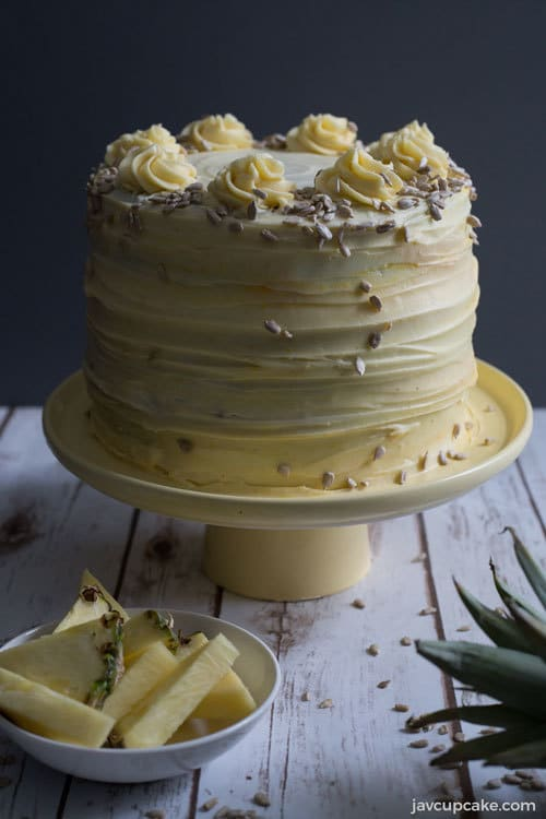 Hummingbird Cake on a yellow cake stand
