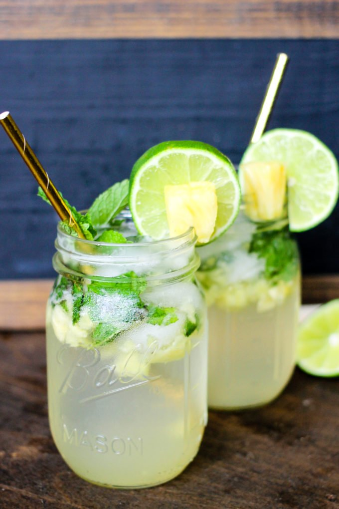 Pineapple Mojitos are full of fresh pineapple, mint, and lime! They are bursting with flavor and make the best summer cocktail!