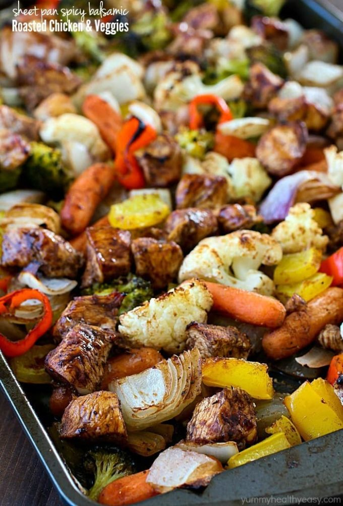 Sheet Pan Spicy Balsamic Roasted Chicken & Veggies - 13+ Best Ever One Pan Meals!