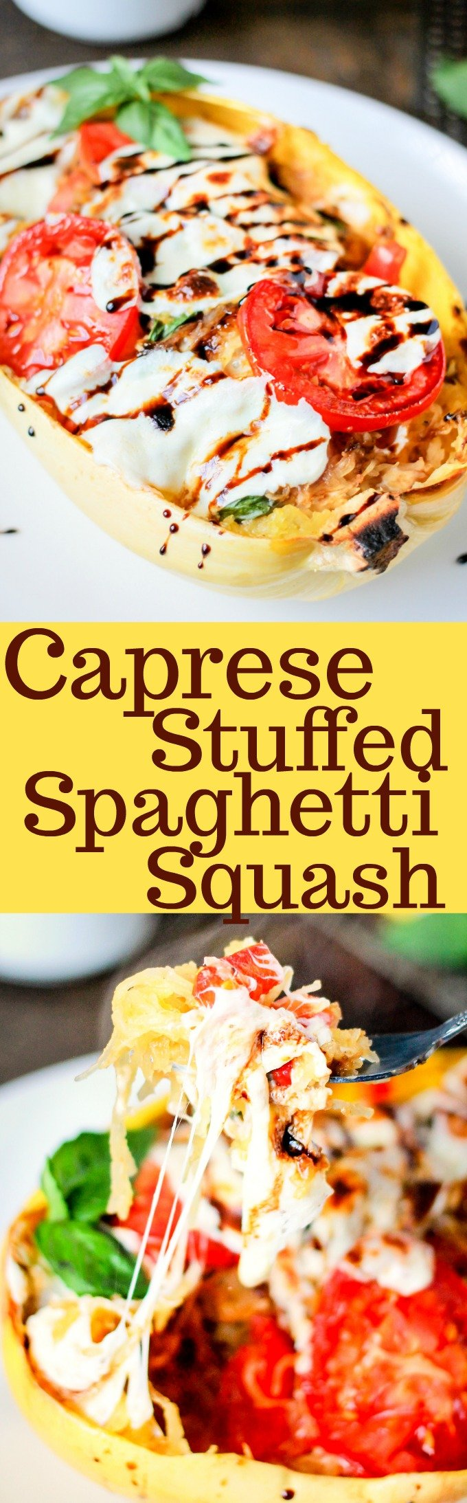 Caprese Stuffed Spaghetti Squash is loaded with fresh mozzarella, tomatoes, basil, and then topped with a delicious balsamic glaze! Perfect healthy dinner!