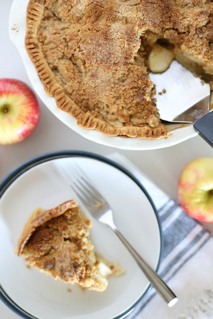 Dutch apple pie with a slice removed