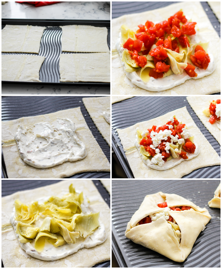 These savory pastries are filled with tomatoes, artichokes, cream cheese, and delicious goat cheese! Only a few minutes to whip up and you have tasty pastries!
