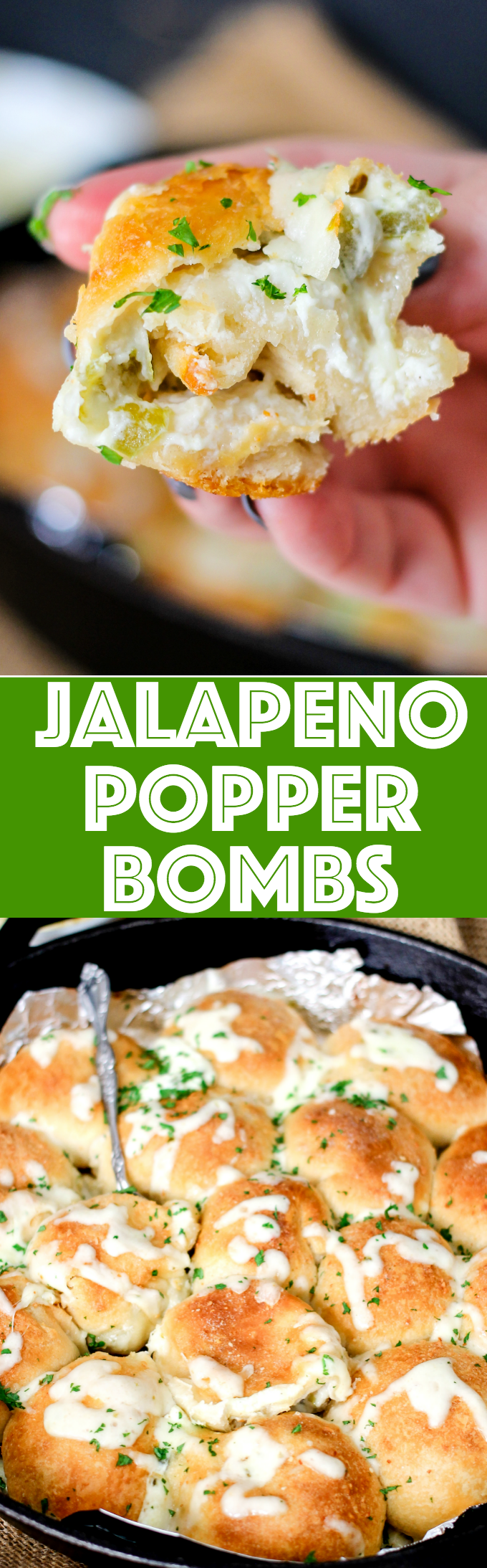Jalapeno Popper Bombs are filled with spicy jalapenos, cream cheese, pepper jack cheese, and then baked to golden perfection. They're the perfect appetizer!