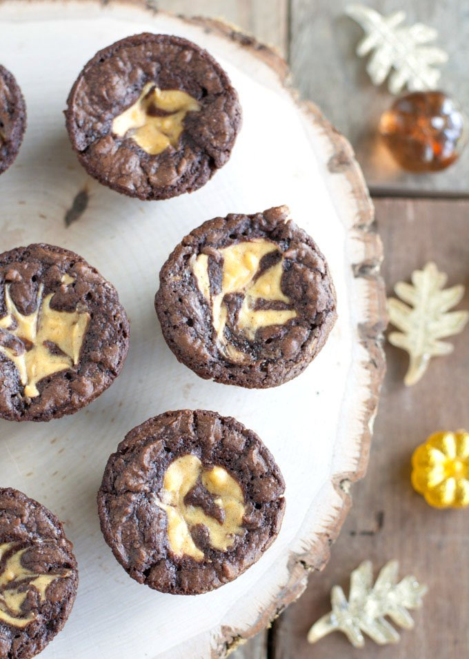 Pumpkin Cheesecake Brownie Bites - 15+ of the Best Thanksgiving Desserts!