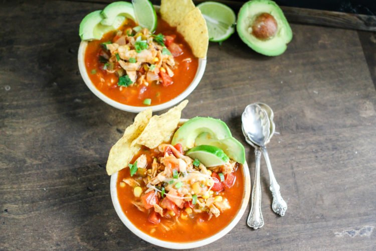 Crock Pot Chicken Tortilla Soup is the perfect healthy comfort food. Set it and forget it; this soup is going to become a regular in your dinner rotation!