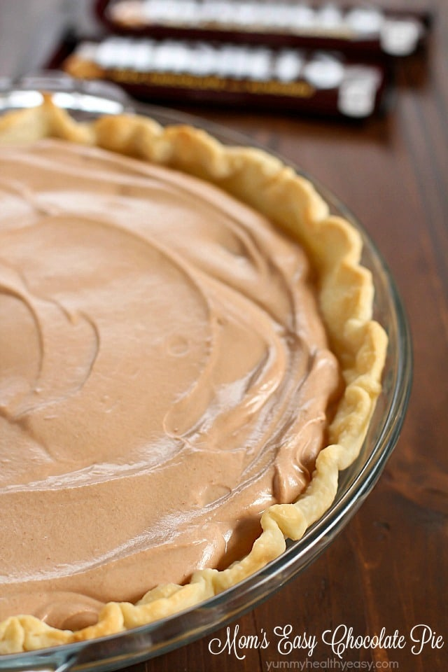 Easy Chocolate Pie in a pyrex pie plate