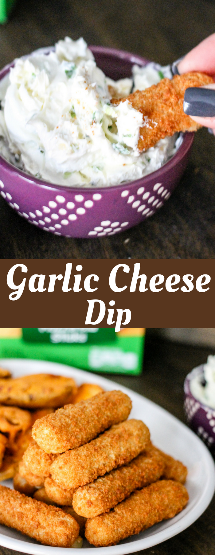 Garlic Cheese Dip is perfect for when you need a delicious appetizer! Dunk your favorite Mozzarella sticks, Loaded Potato Skins, or even pizza in this dip!