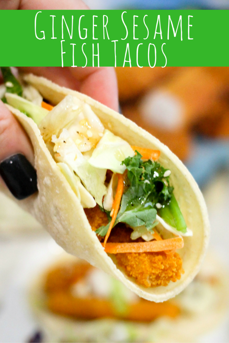 Crispy fish, asian vegetables, and a delicious sweet and tangy ginger sesame sauce pair perfectly for these Ginger Sesame Fish Tacos.