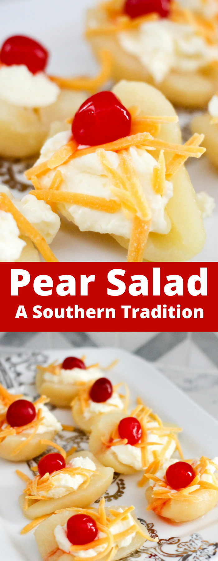 Pear Salad is a classic southern comfort food! Don't knock it until you try it; with only four ingredients so you can whip it up in no time!