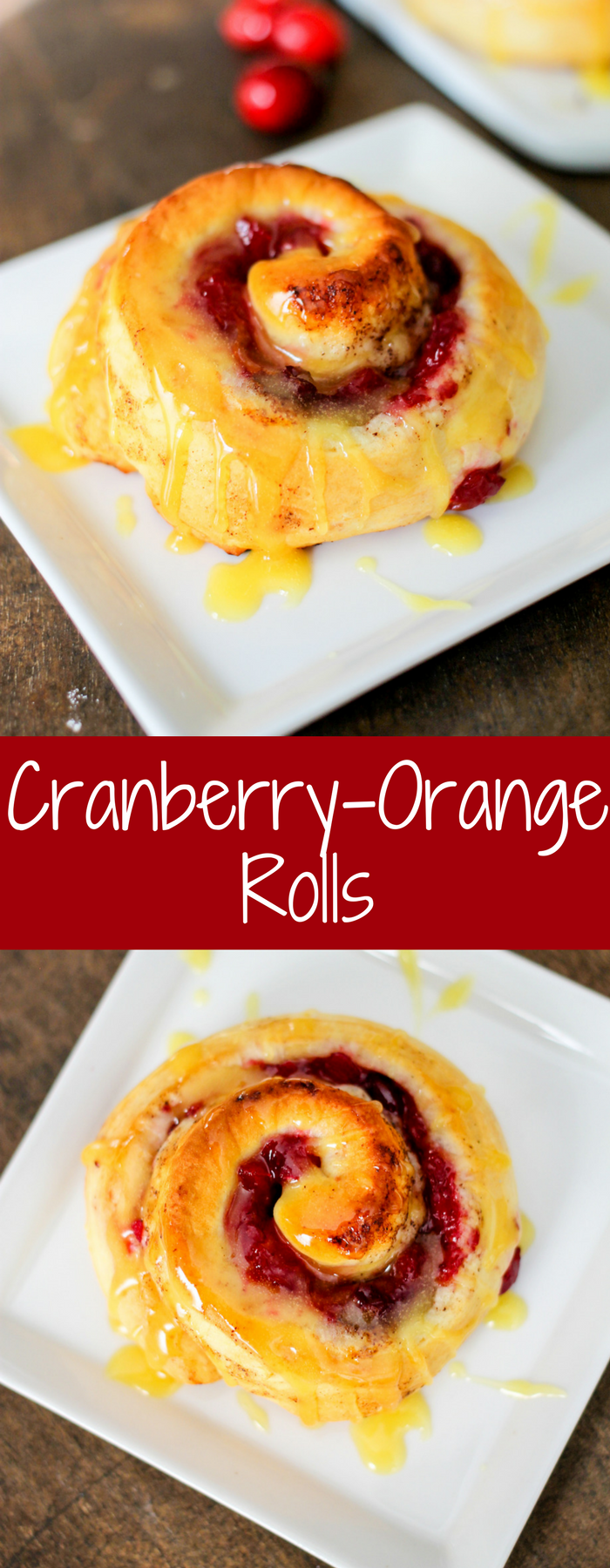 Bejeweled Cranberry-Orange Rolls are the perfect breakfast! Cranberry, pineapple, walnuts and ginger perfectly complement the orange cinnamon rolls!