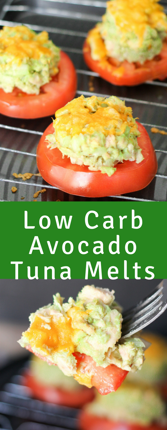 Low Carb Avocado Tuna Melts are the perfect healthy eating solution. Made with creamy avocado, and then piled over a juicy thick cut tomato and topped with cheese.