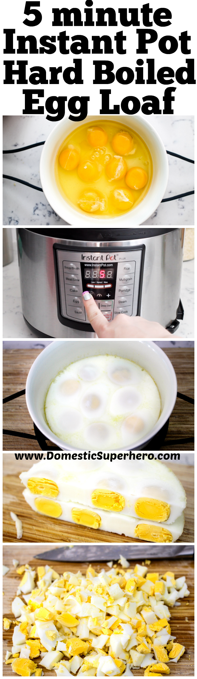 In five minutes you can have a whole bunch of hardboiled eggs which are perfect for egg salad! No peeling or ice bath for this Instant Pot Hard Boiled Egg Loaf!