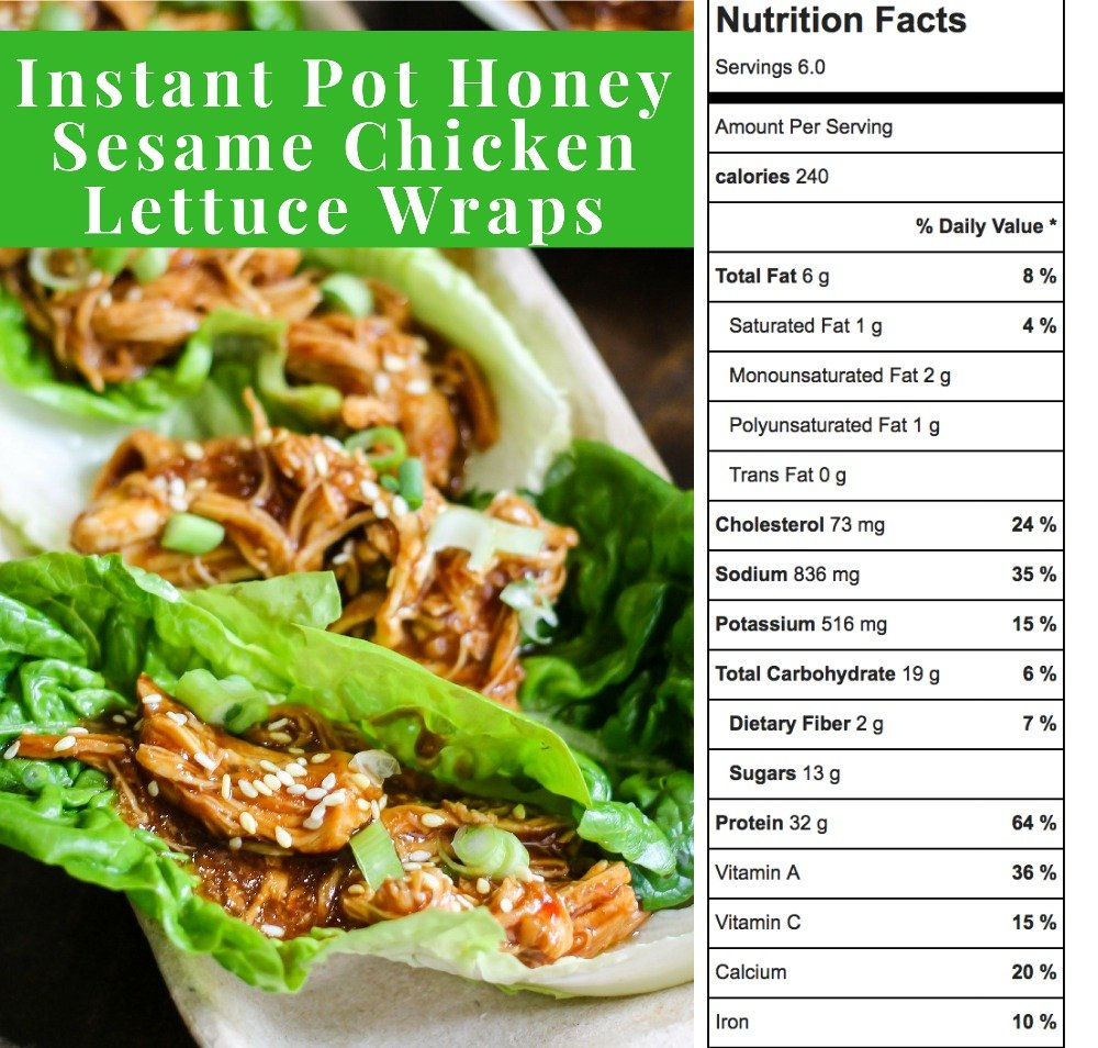 Instant Pot Honey Sesame Chicken Lettuce Wraps are a delicious healthy meal that cooks in just 10 minutes! Simple to make, family friendly, and so tasty!