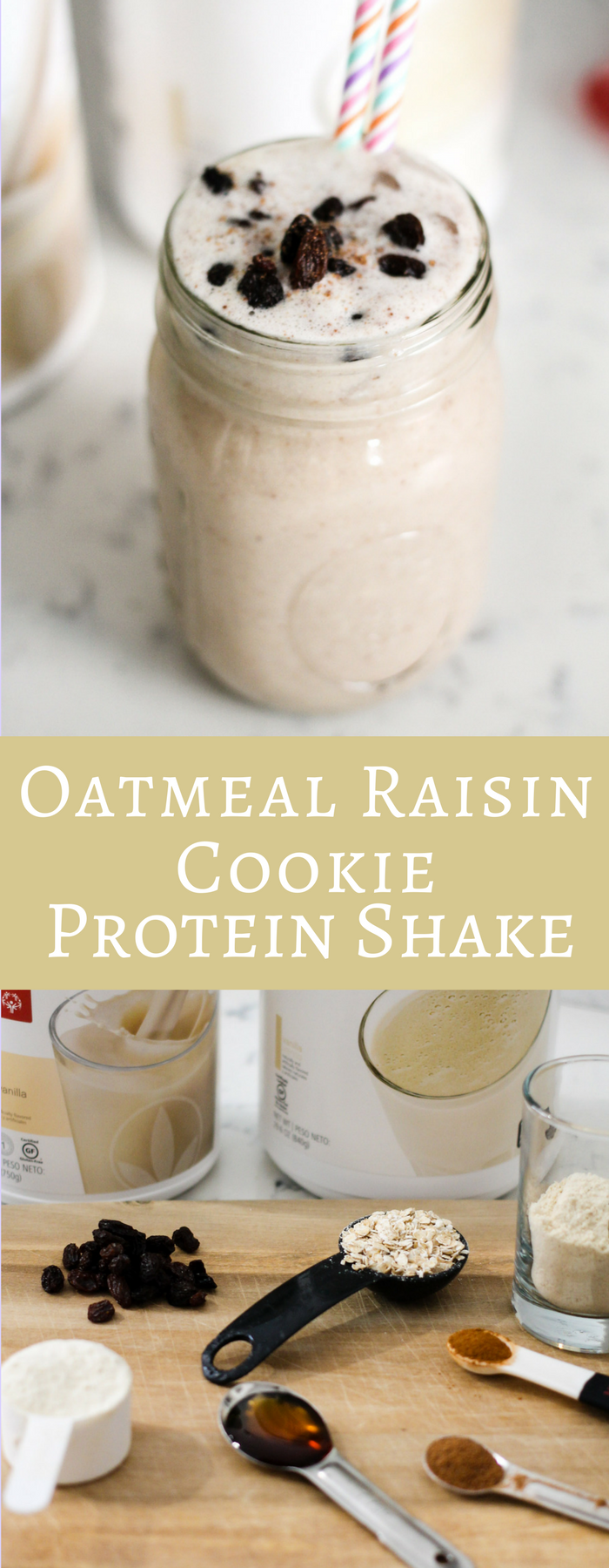 With 17 grams of protein this Oatmeal Raisin Cookie Protein Shake is the perfect post workout shake! Not to mention it tastes like a decadent treat!
