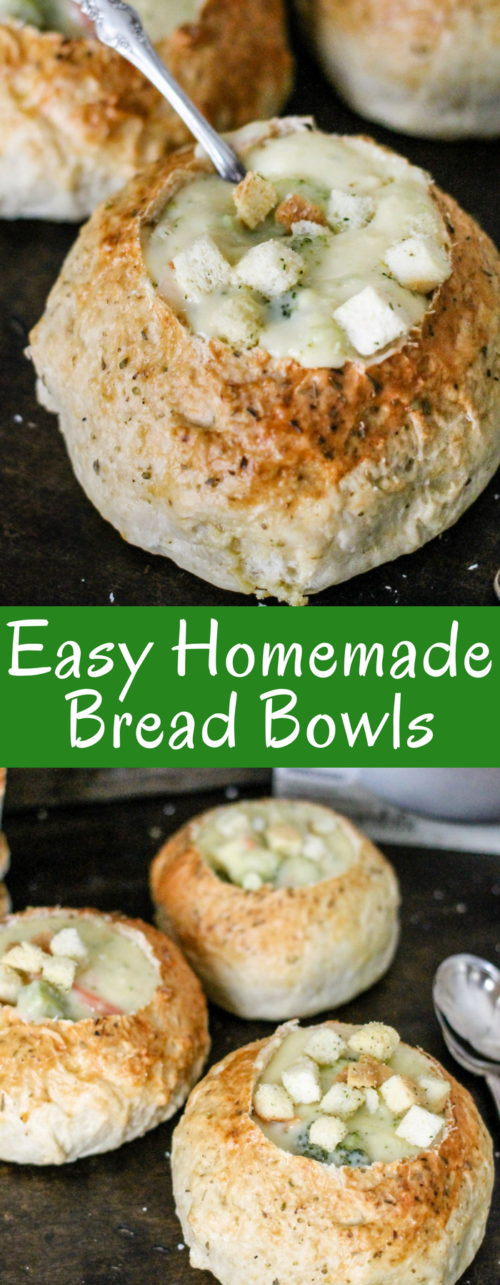 With only a handful of ingredients, this Easy Homemade Bread Bowl recipe is simple, tasty, and freezes well. Fill with your favorite soup, like Broccoli Cheddar, and dinner is served!