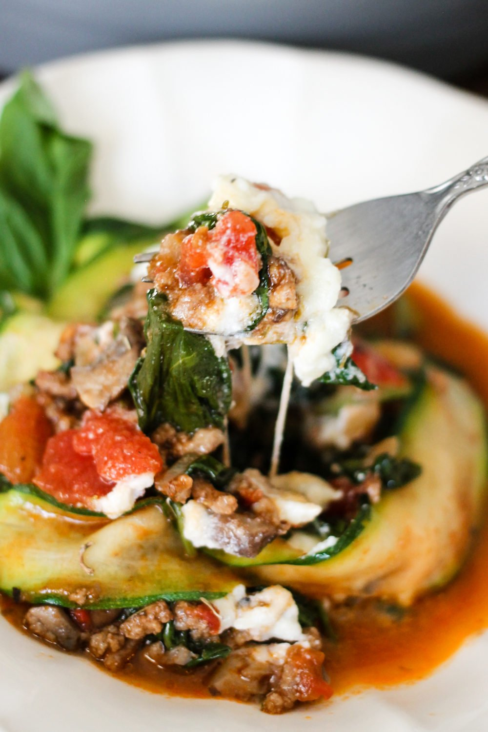 One Pot Zucchini Lasagna is the perfect low carb lasagna! Traditional lasagna flavors paired with healthy zucchini slices makes a delicious dinner!