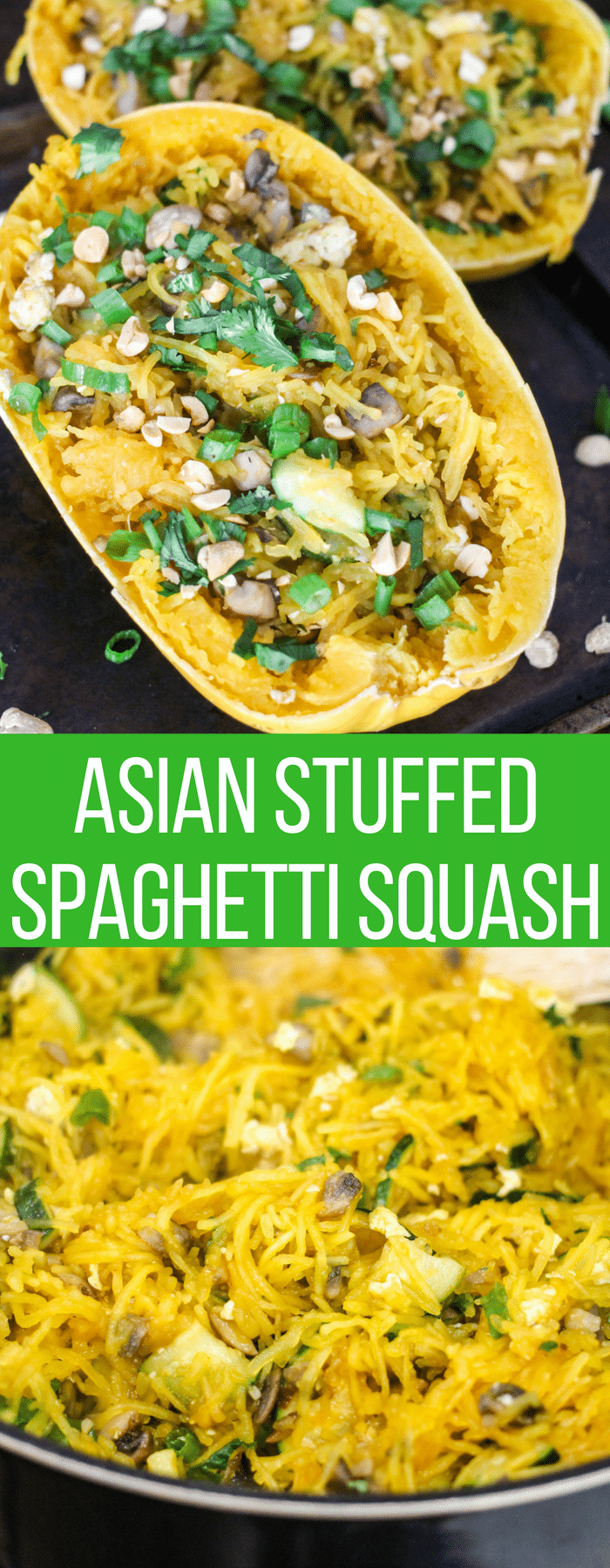 This Asian Spaghetti Squash is stuffed with fresh vegetables, herbs, and spices, then topped with a delicious asian sauce. It's healthy, easy, and the perfect weeknight dinner!