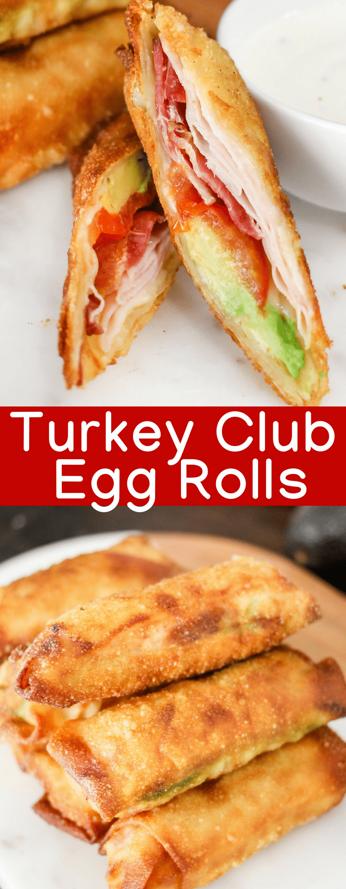 Ready for a Turkey Club Sandwich taken to the next level? These crispy Turkey Club Egg Rolls are filled with turkey, bacon, tomato, avocado, cheese, and a special sauce! You will LOVE them!