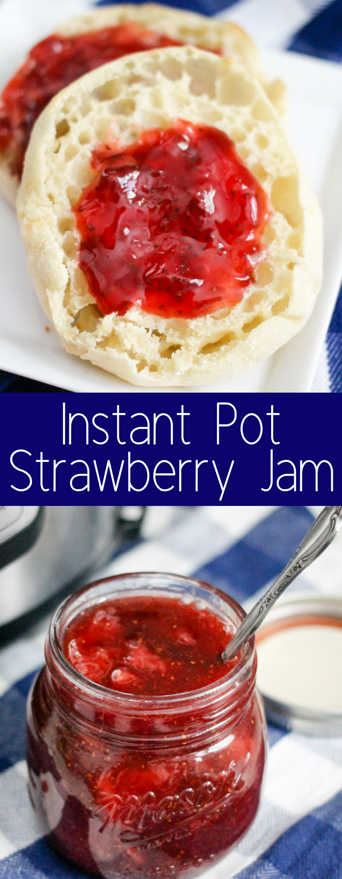 Only four ingredients in this super simple and delicious Instant Pot Strawberry Jam. Perfect for sandwiches, ice cream topping, or whatever you want!